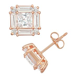 14k Rose Gold Over Silver Cubic Zirconia Earrings