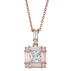 14k Rose Gold Over Silver Cubic Zirconia Pendant
