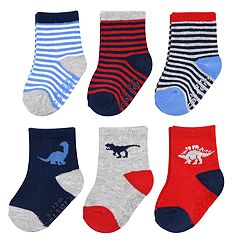 Baby Boy Carter's 6-pack Striped Dinosaur Crew Socks