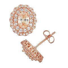 14k Rose Gold Over Silver Champagne Cubic Zirconia & Lab-Created Sapphire Earring