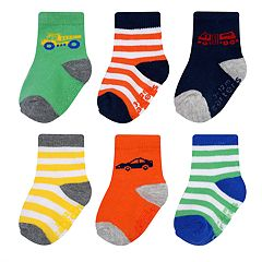 Baby Boy Carter's 6-pack Striped Vehicle Crew Socks