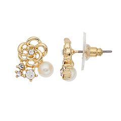 LC Lauren Conrad Simulated Pearl Nickel Free Flower Stud Earrings