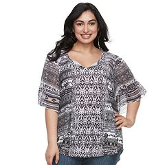Plus Size World Unity Bell Sleeve Tassle Top