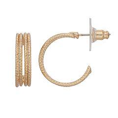 LC Lauren Conrad Nickel Free Gold Tone Braided Hoop Earrings