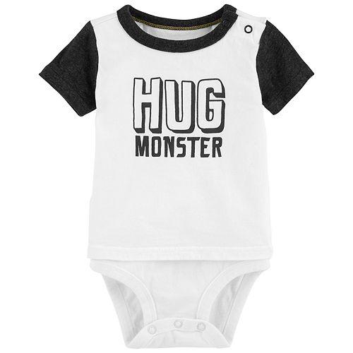 """Baby Boy OshKosh B'gosh® Mock Layer """"Hug Monster"""" Bodysuit"""