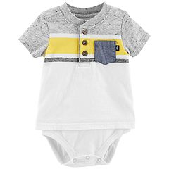 Baby Boy OshKosh B'gosh® Striped Mock Layer Henley Bodysuit