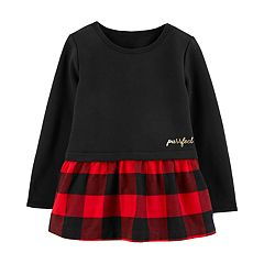 Toddler Girl Carter's Fleece Plaid Peplum Top