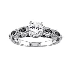 10k White Gold White Sapphire and 1/4 Carat T.W. Black Diamond Scalloped Ring