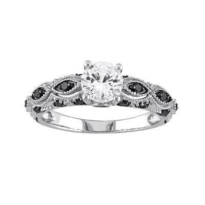 Stella Grace 10k White Gold White Sapphire and 1/4 Carat T.W. Black Diamond Scalloped Ring
