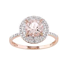 10k Rose Gold Morganite & 1/10 Carat T.W. Diamond Halo Ring