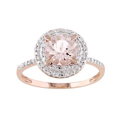 Stella Grace 10k Rose Gold Morganite & 1/10 Carat T.W. Diamond Halo Ring