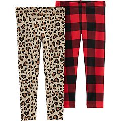 Toddler Girl Carter's 2-pack Cheetah & Buffalo Check Leggings