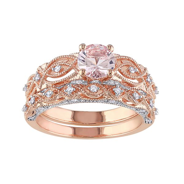 Stella Grace 10k Rose Gold Morganite 1 4 Carat T W Diamond Engagement Ring Set