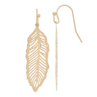 LC Lauren Conrad Openwork Nickel Free Feather Drop Earrings