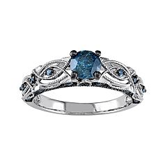 Stella Grace 10k White Gold 3/4 Carat T.W. Blue Diamond Filigree Ring