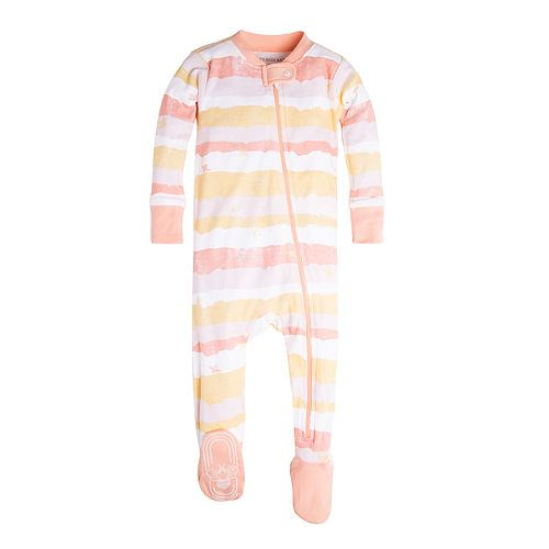 b9f390b14f24 Baby Girl Burt s Bees Baby Organic On The Horizon Striped Footed Pajamas