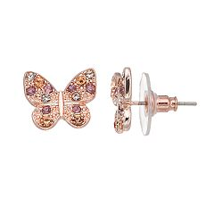 LC Lauren Conrad Pave Butterfly Nickel Free Stud Earrings