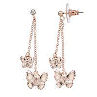 LC Lauren Conrad Nickel Free Rose Gold Tone Butterfly Drop Earrings
