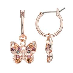 LC Lauren Conrad Nickel Free Rose Gold Tone Pave Butterfly Hoop Earrings