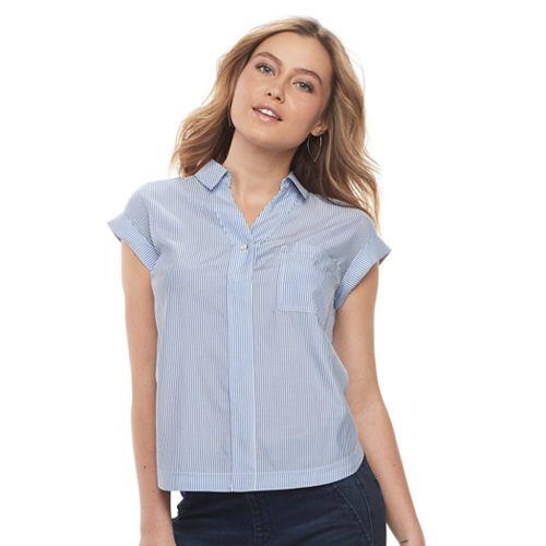 86695e31eefa68 Petite Apt. 9® Poplin Short Sleeve Shirt