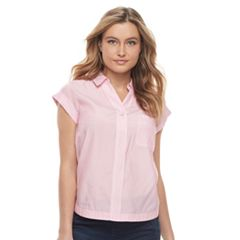 Petite Apt. 9® Poplin Short Sleeve Shirt