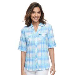 Women's Cathy Daniels Plaid Roll-Tab Shirt