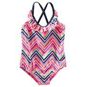 Girls 4-8 OshKosh B'gosh® Chevron Ruffled One-Piece Swimsuit