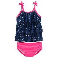 Girls 4-8 OshKosh B'gosh® Polka-Dot Tiered Tankini Top & Bottoms Swimsuit Set
