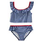 Girls 4-8 OshKosh B'gosh® Gingham Ruffled Tankini & Bottoms Swimsuit Set