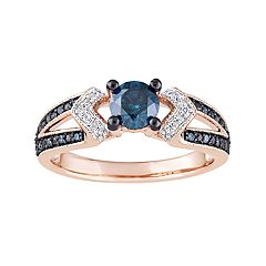 Stella Grace 10k Rose Gold 3/4 Carat T.W. Blue & White Diamond Split Shank Ring