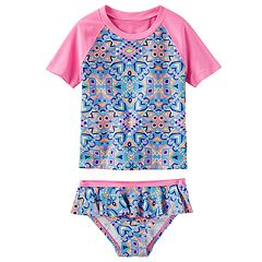 Girls 4-8 OshKosh B'gosh® Heart Geo Rashguard & Bottoms Swim Set