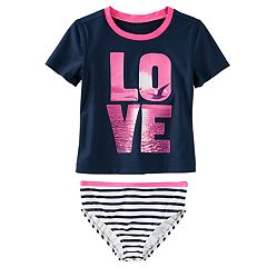 Girls 4-8 OshKosh B'gosh® 'LOVE' Photoreal Seagull Rashguard & Striped Bottoms Swimsuit Set