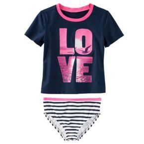 "Girls 4-8 OshKosh B'gosh® ""LOVE"" Photoreal Seagull Rashguard & Striped Bottoms Swimsuit Set"