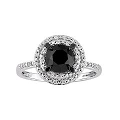 14k White Gold 1 5/8 Carat T.W. Black & White Diamond Halo Ring