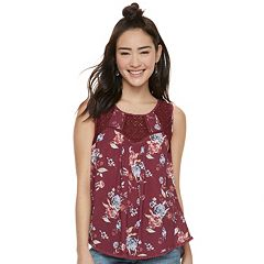 Juniors' Rewind Lace Yoke Tank Top