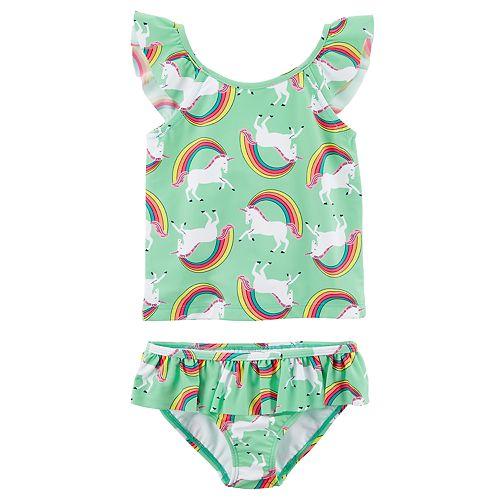 Girls 4-8 Carter's Rainbow Unicorn Tankini Top & Bottoms Swimsuit Set