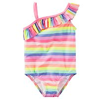 Girls 4-8 Carter's Asymmetrical Rainbow Striped One-Piece Swimsuit