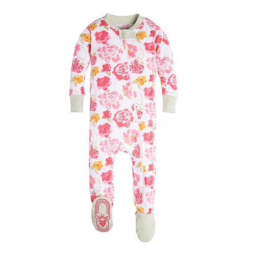 3dae559e76 Baby Girl Burt s Bees Baby Organic Rose Spring Flower Footed Pajamas