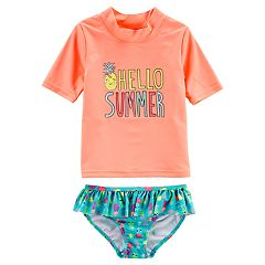 Girls 4-8 Carter's 'Hello Summer' Rashguard & Bottoms Swimsuit Set