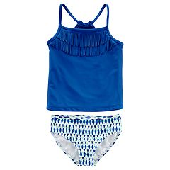 Girls 4-8 Carter's Fringe Tankini & Geometric Patterned Bottoms Swimsuit Set