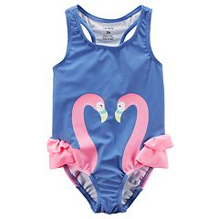 Girls 4-8 Carter's Ruffled Flamingo One-Piece Swimsuit