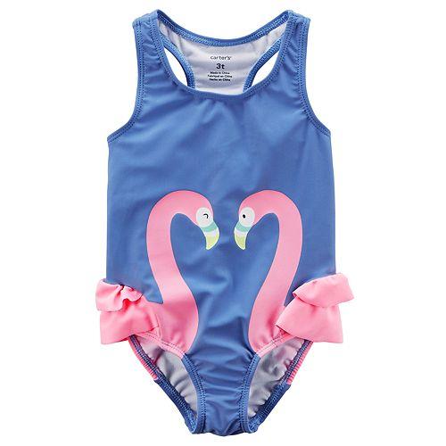 Girls 4-8 Carter's Ruffled Flamingo One-Piece Swimsuit