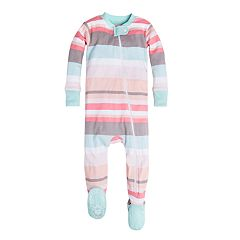 Baby Girl Burt's Bees Baby Organic Desert Stripe Footed Pajamas