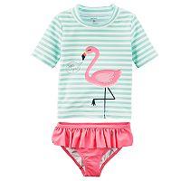 Girls 4-8 Carter's Striped Flamingo Rashguard & Ruffled Bottoms Swimsuit Set
