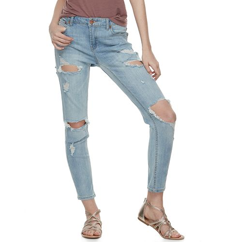Juniors' Almost Famous Destructed Ankle Jeans
