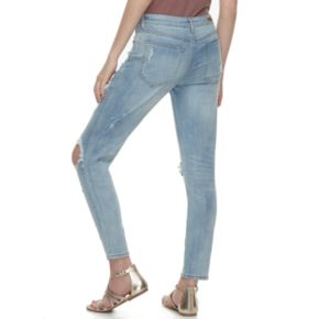 Juniors' Almost Famous Destructed Ankle Jeans