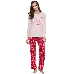 Women's Jammies For Your Families Heart Print Long Sleeve Top & Pants Pajama Set
