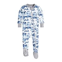 Baby Boy Burt's Bees Baby Organic Distressed Camo Footed Pajamas