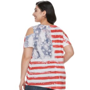 Plus Size World Unity Cold-Shoulder Flag Top