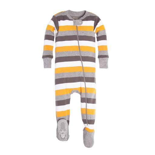 Baby Boy Burt's Bees Baby Organic Tri Color Striped Fotted Pajamas